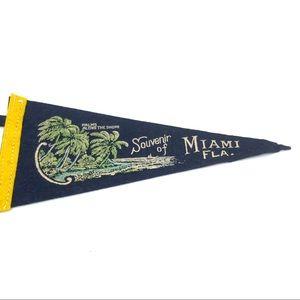 Vintage Wall Art - 30's Vintage Miami Florida Souvenir Pennant Flag